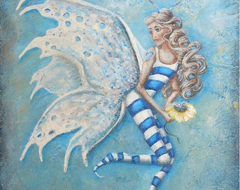 Fairy wall art, cute fairy painting print, beautiful blonde fairy art print. Original fairy painting by Nancy Quiaoit.