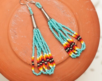 turquoise looped seed bead earrings