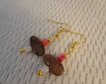 Handmade Wood Bead with Red, White Accent 22k Gold Hook Earrings - Martha F098
