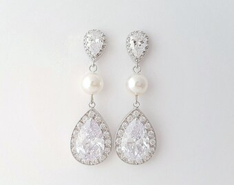 Crystal Bridal Earrings, Pearl Wedding Earrings, Teardrop Long Earrings, CZ Drop Earrings, Swarovski Pearls, Bridal Jewelry, Evelyn