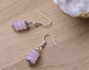 Pink bead earrings - Pastel Pink dangle Earrings | Glass rondelle bead stack earrings | Candy pink jewelery | Pretty accessories