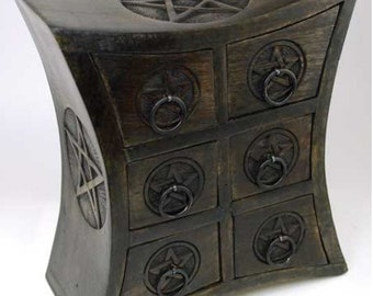 Pentagram Pentacle Carved Six Draw Herb, Jewelry or Gemstone Storage Chest Home decor wicca