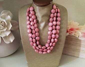 Blush Bead Necklace - Chunky Beaded Statement Necklace MultiStrand Blush