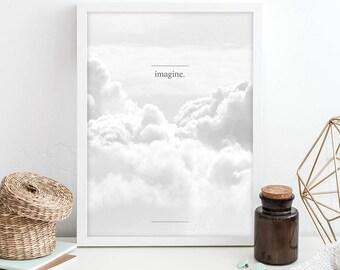 sky poster print, wanderlust poster print, grey poster prints, imagine wall art, wanderlust 2017, downloadable prints, instant download