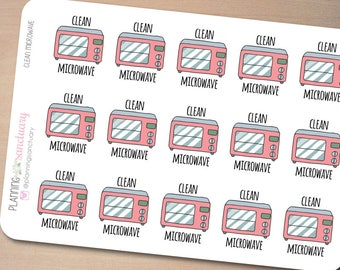 Clean Microwave Oven Reminder Planner Stickers Perfect for Erin Condren, Kikki K, Filofax and all other Planners