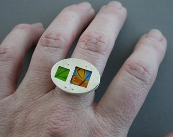 SMaddock OOAK Sterling Silver Layered Window Ring Recycling