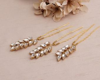 Bridal Hair pins, Rhinestone hair pins, Wedding Headpiece, Wedding Hair pin, Rose Gold Hair pins, Gold hair Pins, Silver hair Pins, Crystal