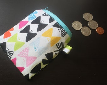Multicolored butterfly zippered change purse/coin pouch