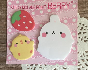 Sticky Molang Point 'Berry' Sticky Notes - Self Stick Note - Kawaii Stationery - Rabbit Chick Strawberry