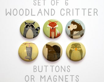 "Gifts for Girls, 1"" Woodland Animal Buttons, 6 Woodland Creature Buttons 1 inch or Magnets, Fox Buttons, Owl Buttons, Fox Magnet"