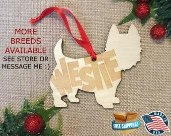Westie Christmas Ornament *** Dog Christmas Ornament *** Dog Breed Ornament  ***Dog Lover Gift *** Christmas Holiday Ornament ***