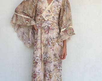 Ethereal 70s floral angel sleeve maxi dress