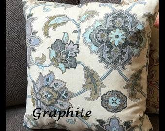 Pillow cover Large Medallion Pillow cover. Zipper Closure pillow cover. Decorative Throw Pillow. Light Blue Beige 18x18, 20x20, 22x22, 24x24