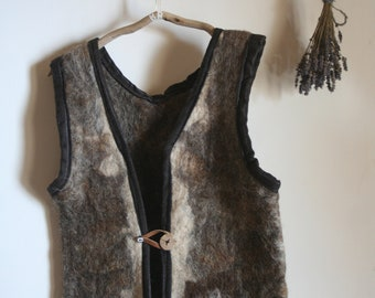 Felted Vest, wool hand felted, Natural Wool, Viking ,rustic,  Folk , Warm
