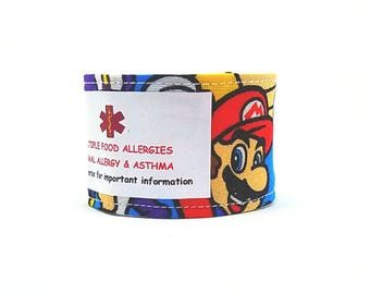 Kids Medical Alert Bracelet Safety ID Fabric Cuff Mario Kids Clothing
