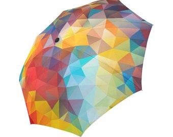 Colourful Umbrella Designed Umbrella Geometric Pattern Umbrella Rainbow Umbrella Photo Print Umbrella Automatic Foldable Umbrella