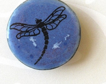 SALE! Dragonfly Brooch. Cornflower Blue Glaze. Black Porcelain. Round. Indigo. Periwinkle. Denim. Woodland. Up North. Insect Jewelry. Summer