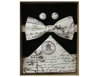 Vintage Postcard Bow Tie Boxed Gift Set