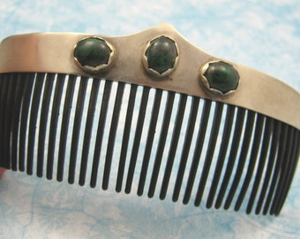 One of kind Sterling , Stone hair comb