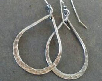 Rustic-Handmade-Hoop-Dangle-Artisan- Sterling Silver- Earrings.