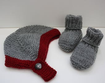 Boys helmet and booties grey and maroon 3 - 6 months
