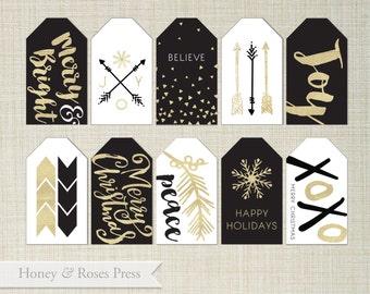 Black and Gold Christmas Tags  . Glittery Christmas . Glitzy Christmas Tags . Holiday Tags . Printable Tags