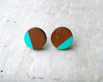 Hand-painted earrings in Québec wood (cherrywood) and stainless steel OR sterling OR 14k gold filled - acrylic paint