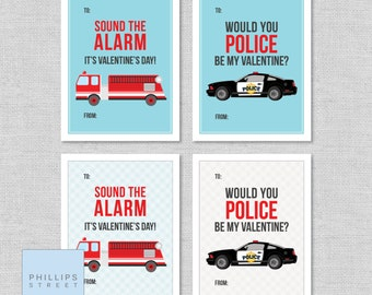 printable rescue vehicle Valentine's Day cards .  police car classroom valentines  .  children's fire truck valentines  .  instant download
