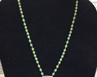 Vintage Barrel Key Beaded Necklace / Winding Key Necklace / Czech Glass Bead Necklace / Green Beaded Necklace / Antique Barrel Key Necklace