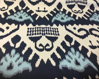 1.7 Yards Quadrille Kazak Indoor Outdoor Navy Blue Off White Suncloth Outdoor Ikat Screen Printed Fabric Southwestern Upholstery ST