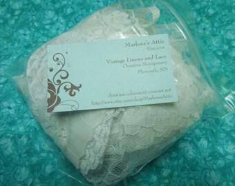 White lace goodie bag, white lace Grag bag, Bag of lace scraps, white lace scraps by MarlenesAttic