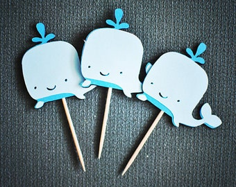 Smiling Whale Cupcake Toppers - Shades of Blue - Beach - Summer - Set of 12