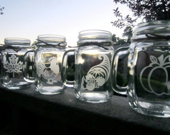 Thanksgiving Mason Jars, Glasses, Mason Jars, Mugs, Holidays