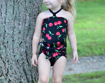 Swimsuit Girls Baby Bathing Suit Cherry Print on Black One Wrap Swimsuit Tie On Swimwear One Piece Swimsuit Cherries Summer Outfit