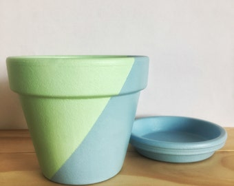 Hand Painted Plant Pot // Green and Blue