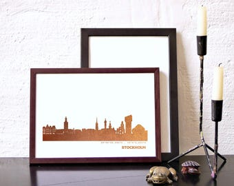 Hygge STOCKHOLM wall decor copper, STOCKHOLM skyline, Sweden, custom copper art print, Stockholm for Newbies, Stockholm Gift, wedding favor