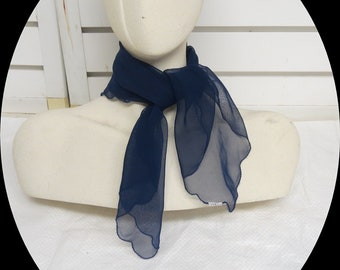 "Navy Sheer Chiffon Rockabilly Vintage Scarf 21"" X 22""  #009"