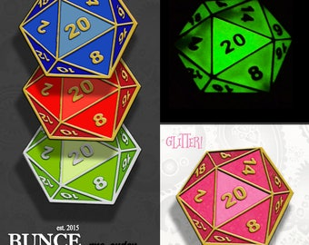 DnD Dungeons and Dragons hard enamel lapel PIN / RPG Critical hit 20 dice green red glow in the dark mtg gamer / by BUNCEandBEAN