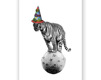 Lets Go to the Circus - Tiger Birthday Card