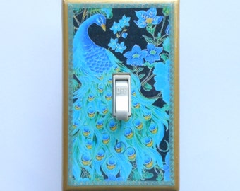 Peacock Blue Switchplates w/ Matching Screws- Peacock wall decor peacock switchplates peacock wallpaper peacock art trading card peacock art