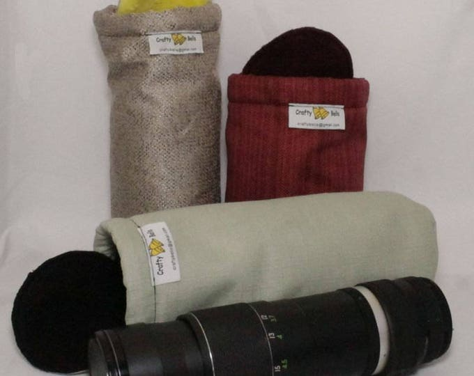 Camera Lens Bags, Bottle Holder, (Large), Photography Accessories, Non-abrasive fabric to protect lens, Top flap and drawstring
