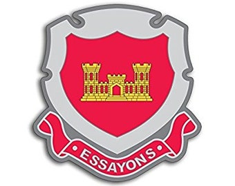 Army Corps of Engineers ESSAYONS Crest Shaped Sticker