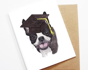 Graduation Card - Boston Terrier, Grad Card, College Graduation, High School Grad, Congrats Grad, Congrats Card, Cute Dog Card