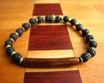 3780- Yoga Bracelet, Volcanic Stone, Hematite, Nacre