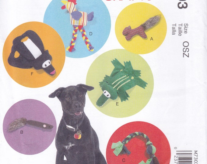 FREE US SHIP McCall's 7303 Sewing Pattern diy Dog Toys Squirrel Chicken Rope Alligator Pull toy Skunk Factory Folded 2015 Out of Print