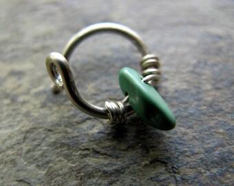 terrace-- sterling silver gemstone hoop earring-- handmade by thebeadedlily