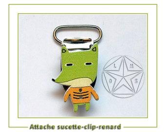 Wooden pacifier color green Fox pacifier clip