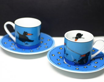 Konitz Espresso Cups - Set of 2 - Black Birds - Made in Germany - Cups and Saucers - Demitasse -Expresso -Blue
