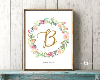 Monogram Art, Flower Letter Nursery Print, Personalized Name Art, Flower Calligraphy Monogram, Watercolor Flowers, Art Decor, Print Poster