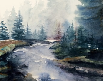 Landscape painting, Peak District, forest painting, Misty forest, River painting, Misty pine forest, Pine forest, watercolor trees, River